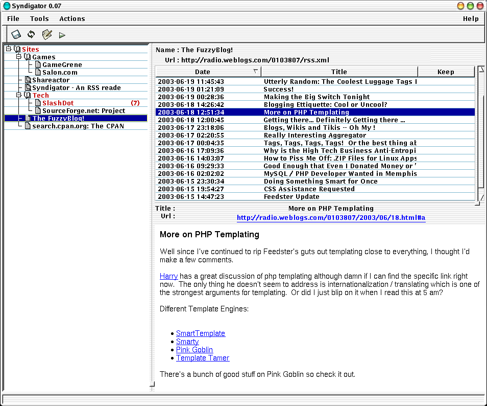 Syndigator - an RSS feed reader